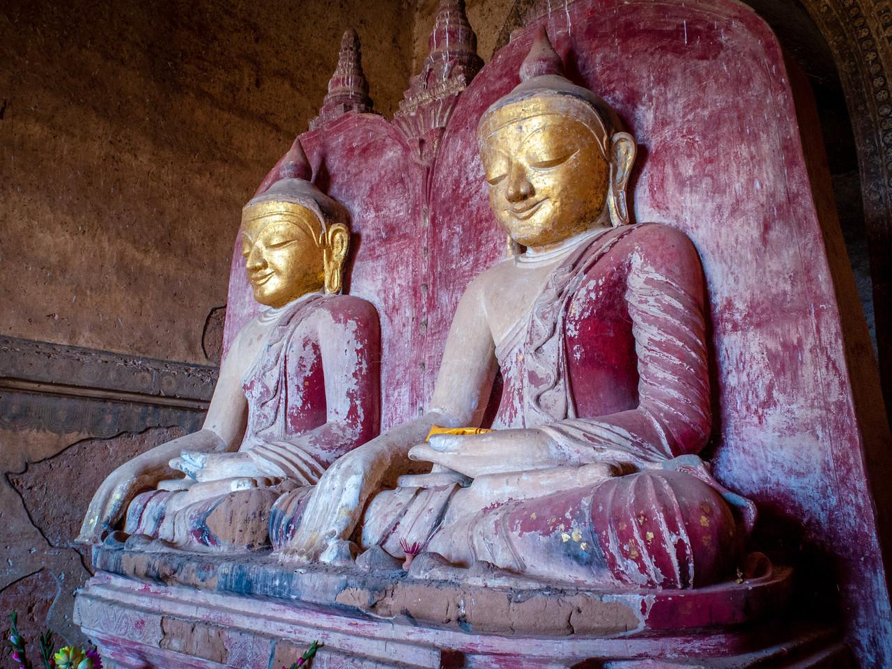 Peaceful Buddhas in a Burmese Temple in Bagan