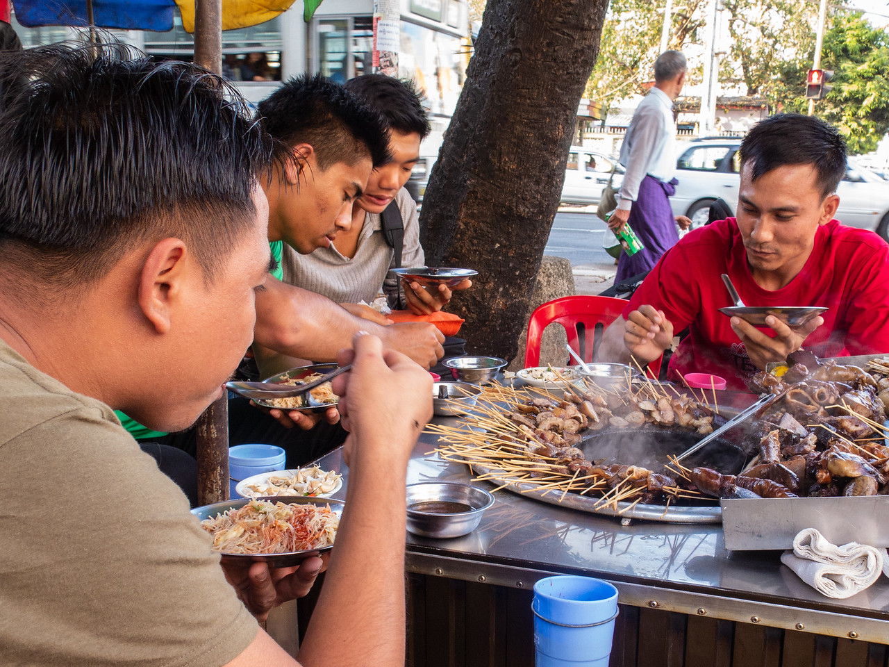 Residents of Yangon Enjoying Street Food