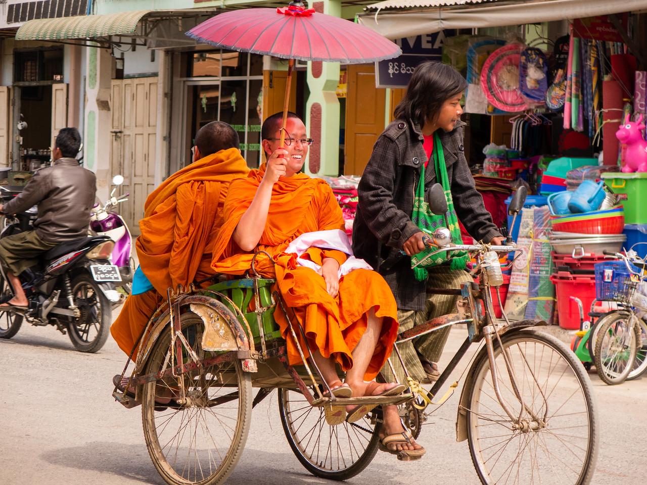 Monk on A Pedi Cab in Nyaung Shwe, Myanmar