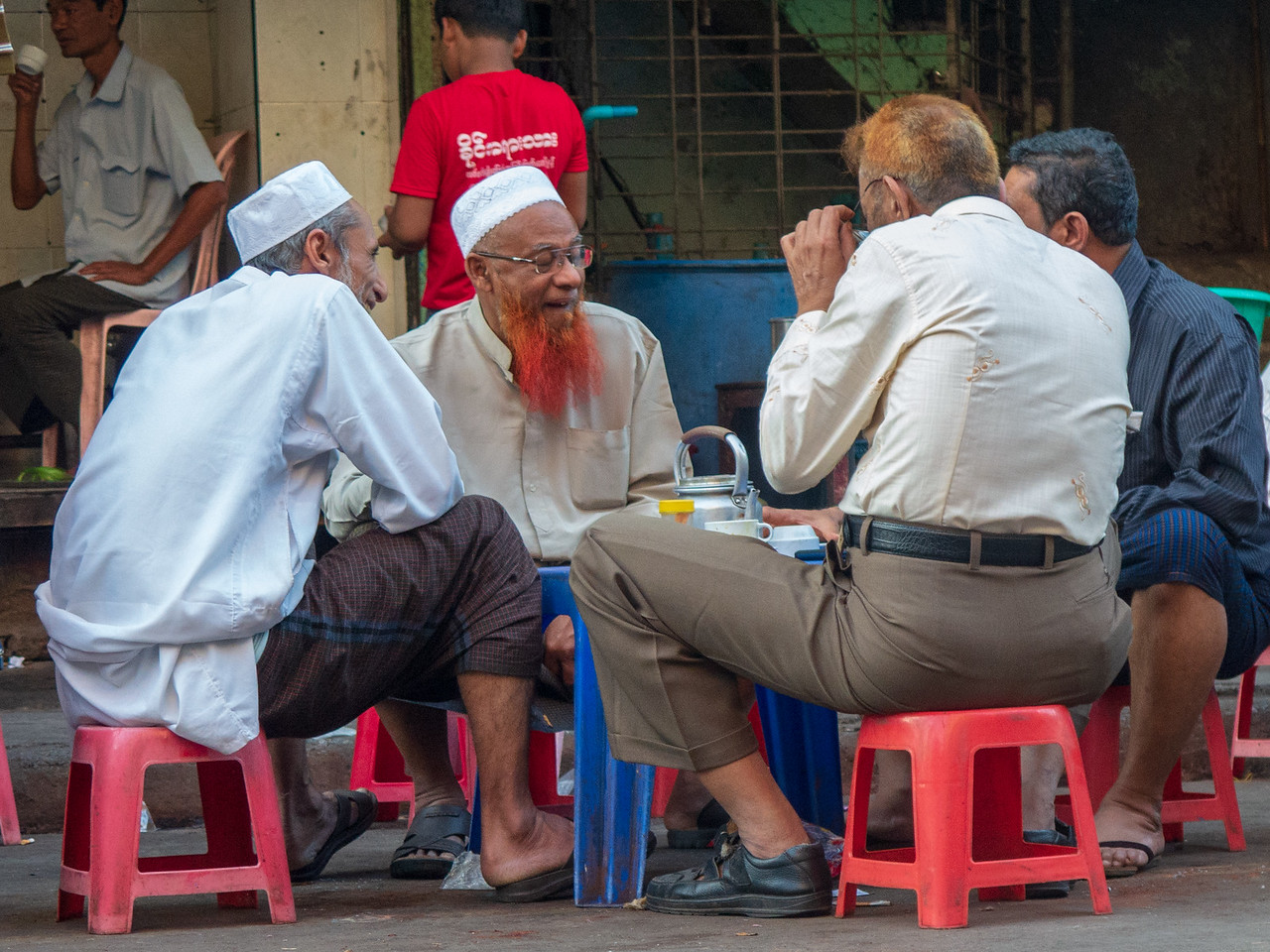 Local Enjoying Tea on the Street in Yangon, Burma