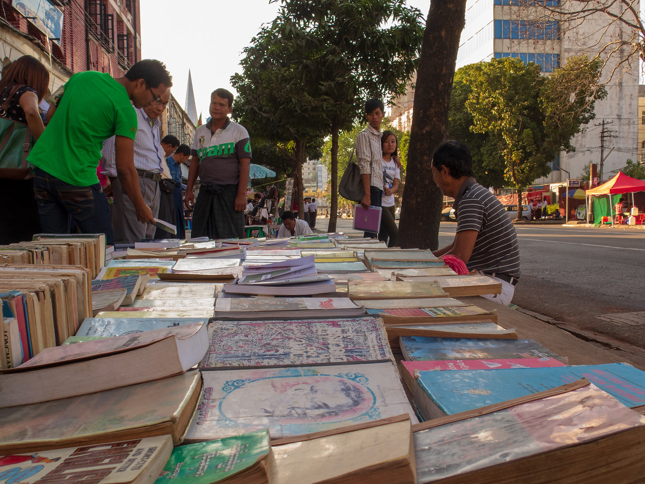 Used Book Sale on the Streets of Yangon, Myanmar