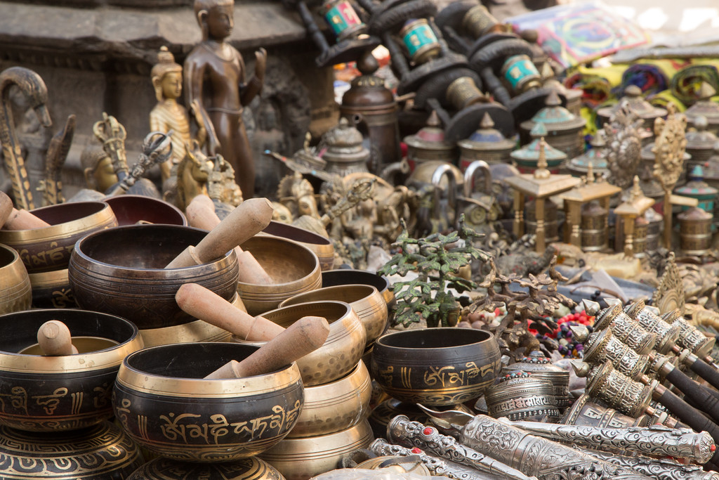 Photograph of Singing Bowls and Buddhas for Sale in Durbar Square