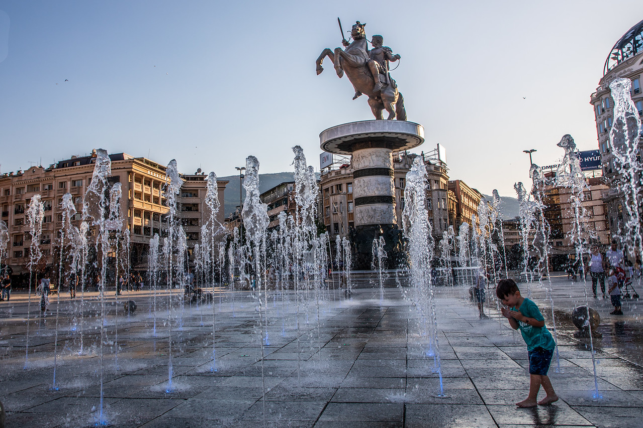Things to do in Skopje. The Warrior on a Horse Statue in Macedonia Square
