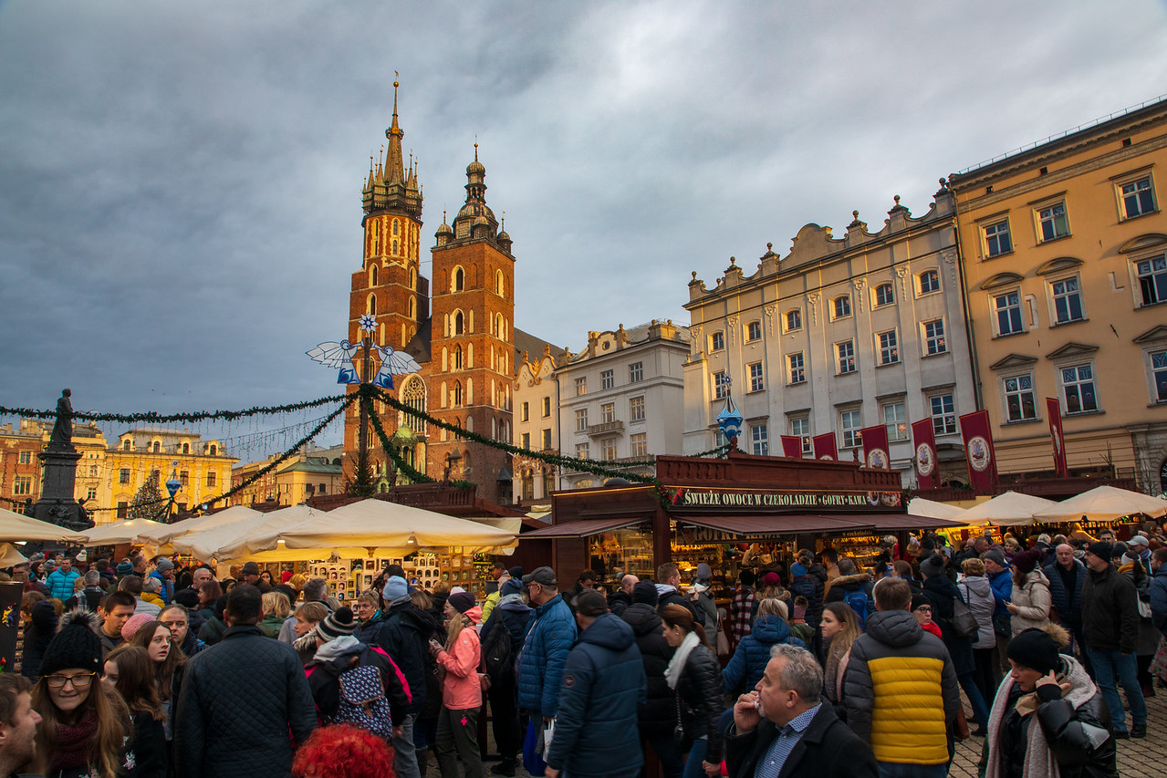 Crowds Shopping at Krakow's Christmas Market