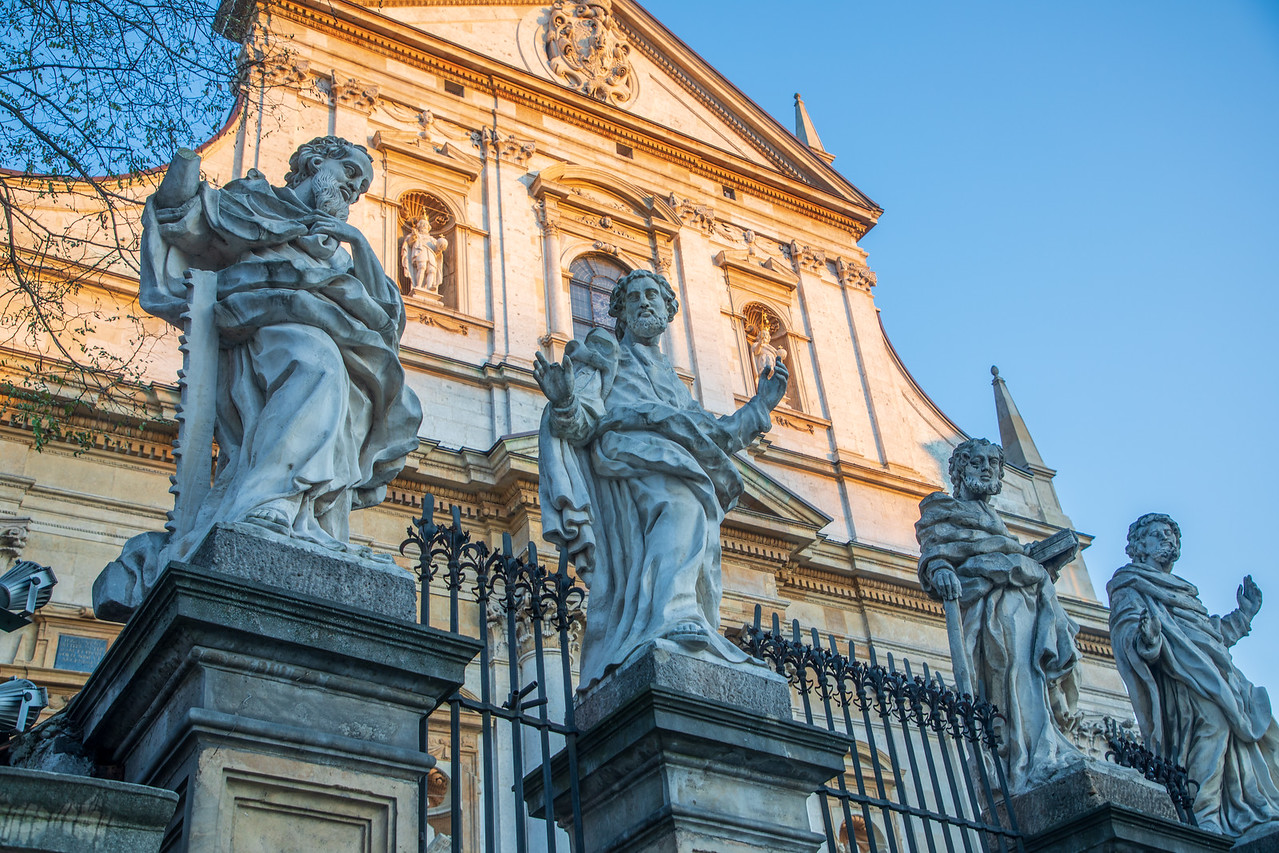 The Statues of Disciples In Front Of St Peters and Pauls Church