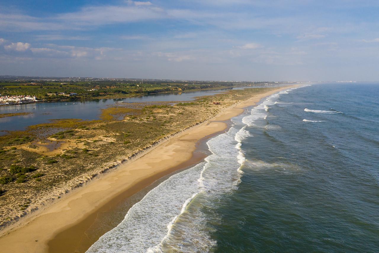 Drone View Of The Beach At Cabanas de Tavira