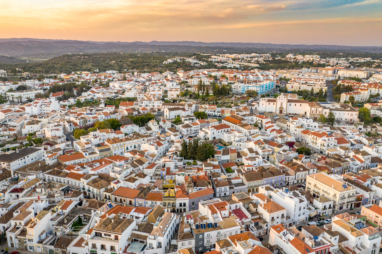 Drone Aerial View of Tavira, Portugal at Sunset