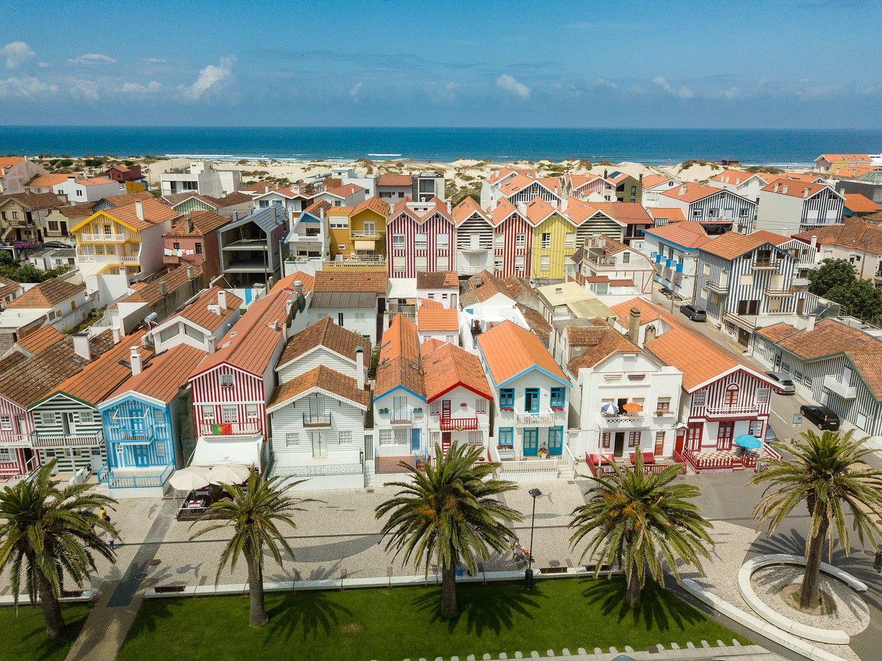 Aerial View of the Striped Beach Houses of Costa Nova, Portugal