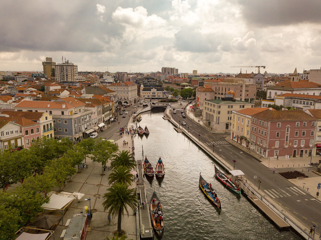 The Main Canal of Aveiro Portugal by Drone