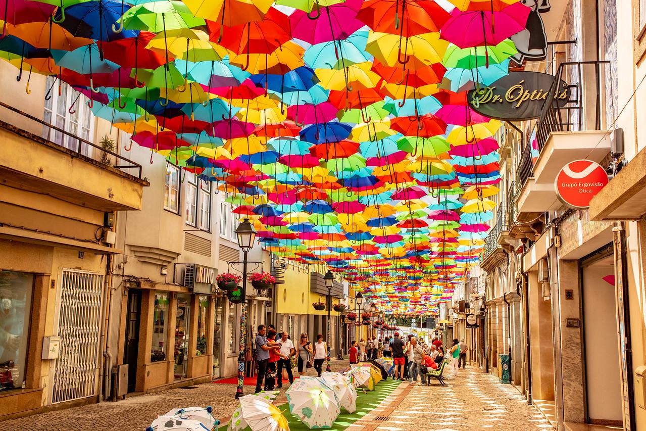 Agueda, Portugal Umbrella Festival Street