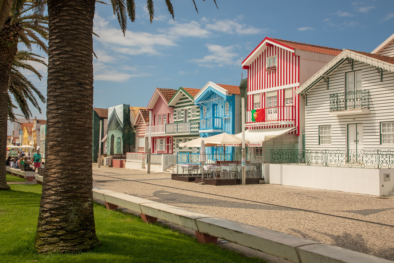 Candy Striped Houses Known as Palheiros in Costa Nova Portugal were once Fisherman Huts