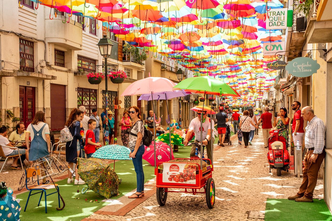 Cherry Vendor on Umbrella Street Fair in Agueda, Portugal Festival