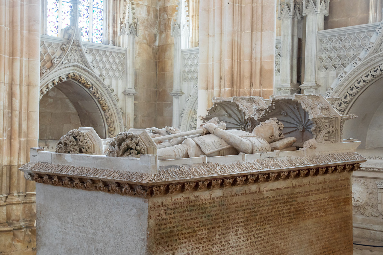 Image of Tomb of King Joao (King John) I, His English Wife Philippa of Lancaster at Batalha Monastery in Portugal