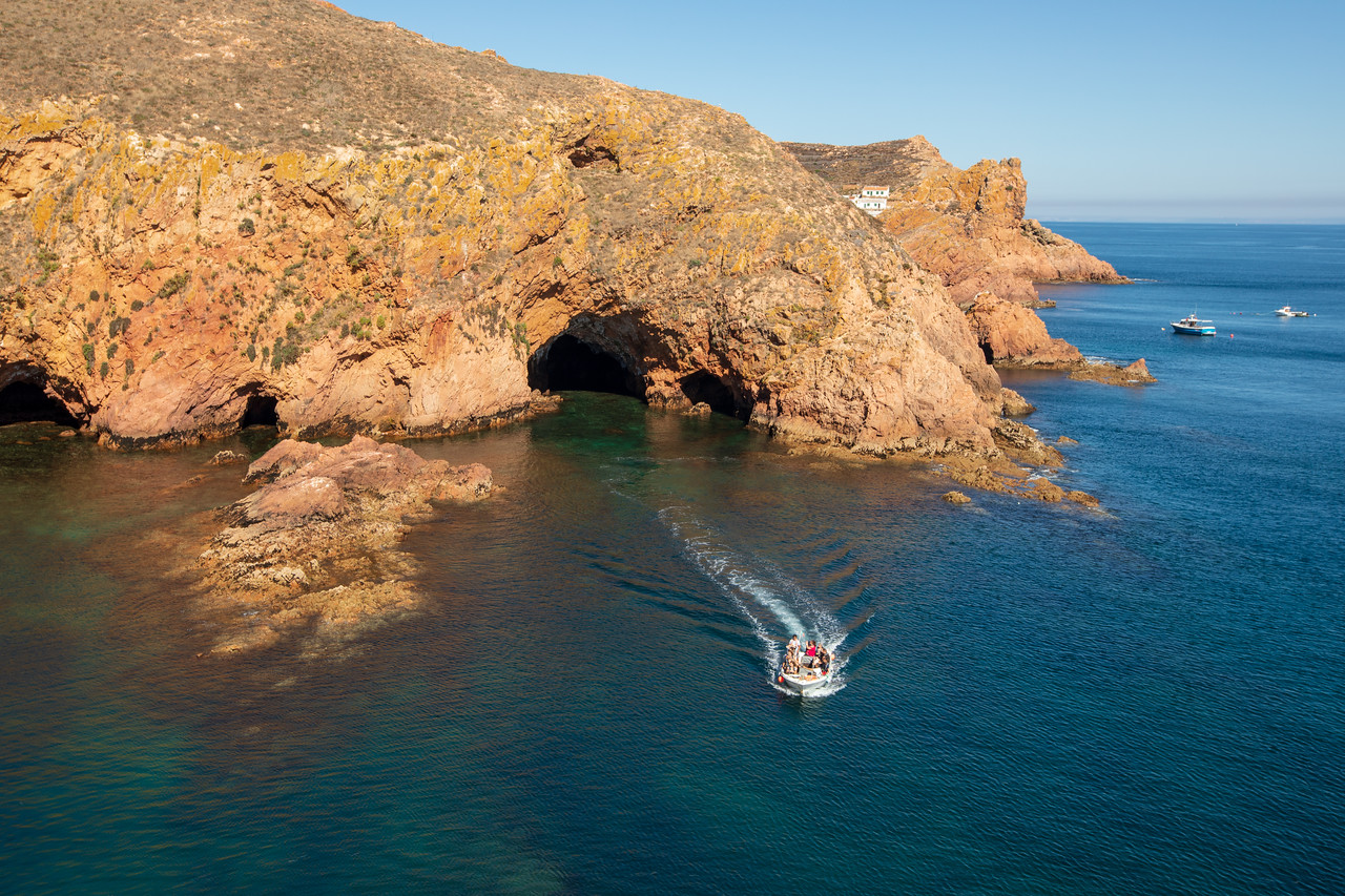 Boat Tour Coming From A Cave On The Berlengas Islands
