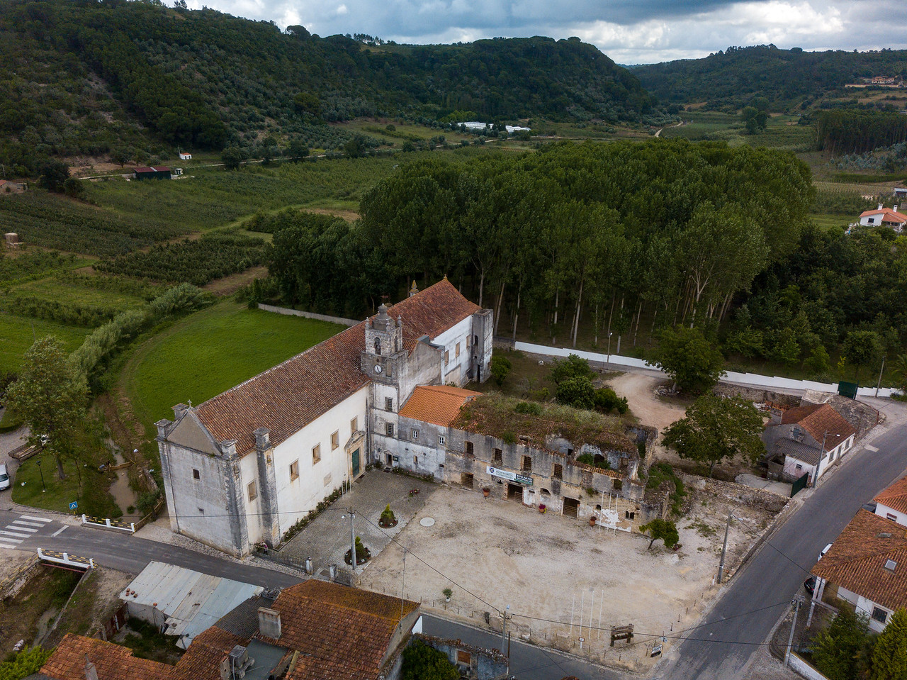 Drone Shot of Santa Maria Monastery of Coz, Portugal