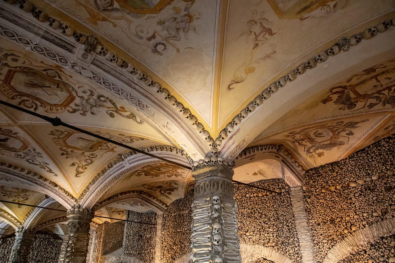 Inside the Chapel of Bones in Evora, Portugal