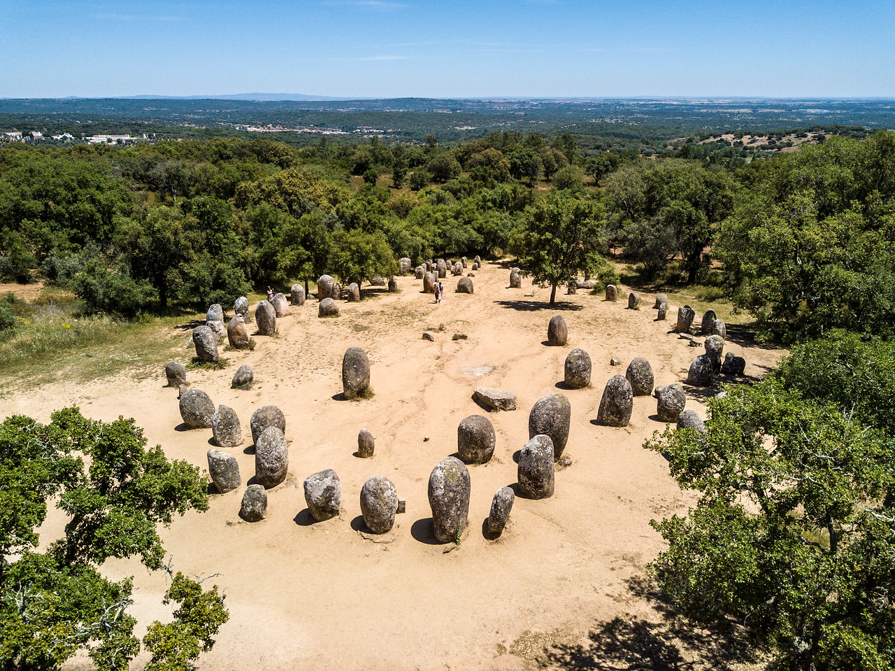 Drone Image of the Megaliths Near Evora, Portugal