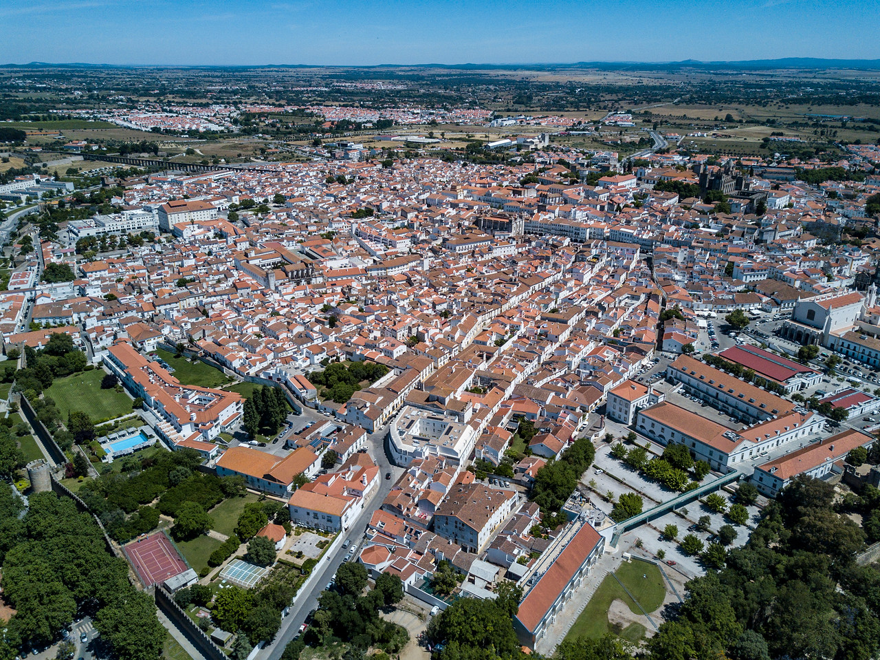 Drone Photo of the Red Tiles Roofs of Evora, Portugal