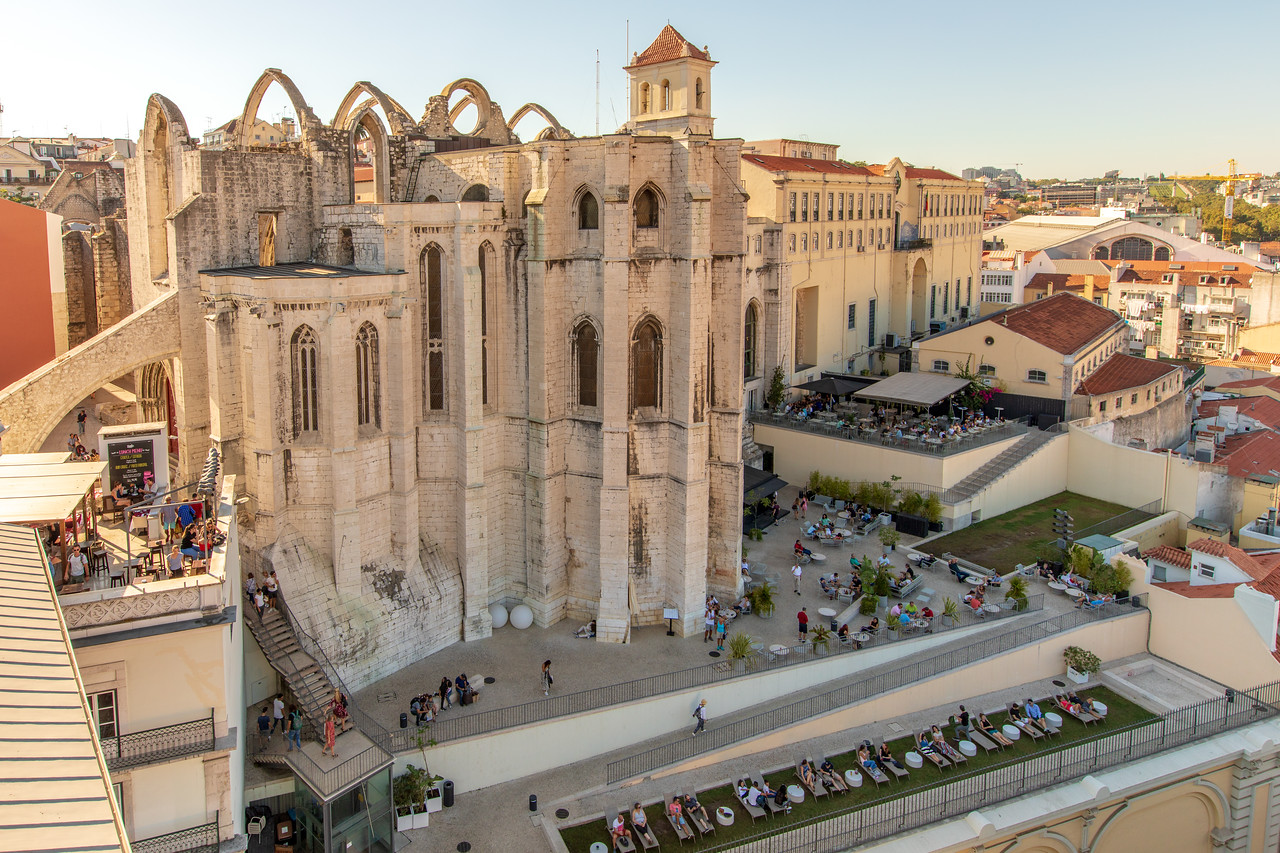 Carmo Convent From The Top Of The Santa Justa Life With Topo Chiado Below in Lisbon