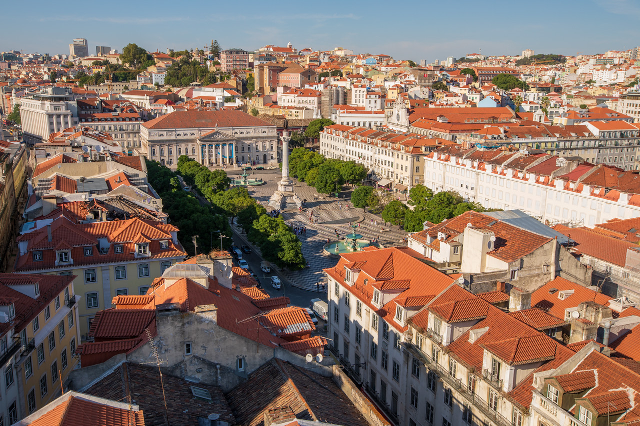 Sight in Lisbon Overlooking Rossio From Santa Justa Lift