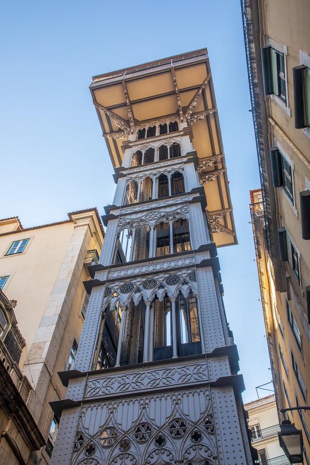 Famous Elevador de Santa Justa Lift in Lisbon