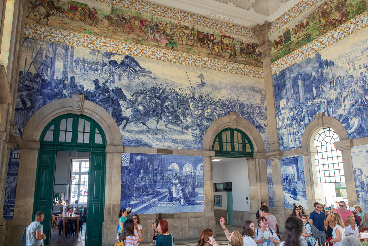 Azulejo Panels Inside of São Bento Train Station