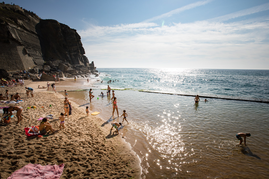 There is a protected tide pool at the beach in Azenhas do Mar, which allows protection from the surf.