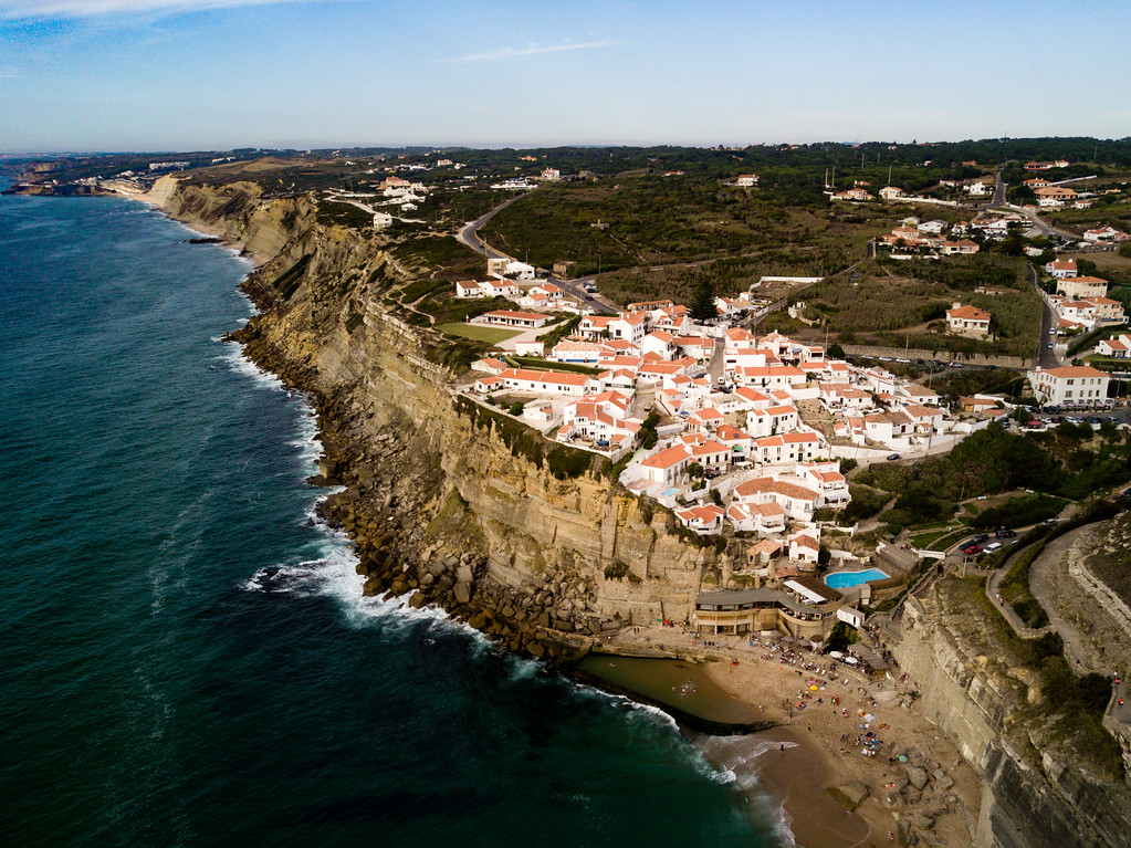 Drone view of Azenhas do Mar, Portugal