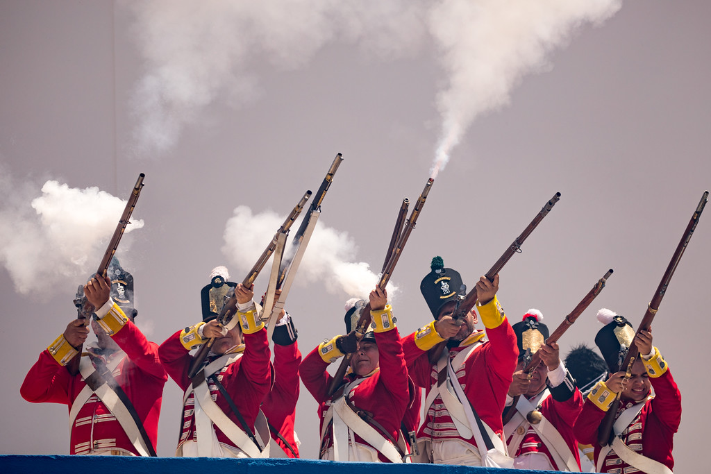Defenders with muskets at the Reenactment of Battle of Vimeiro, Portugal