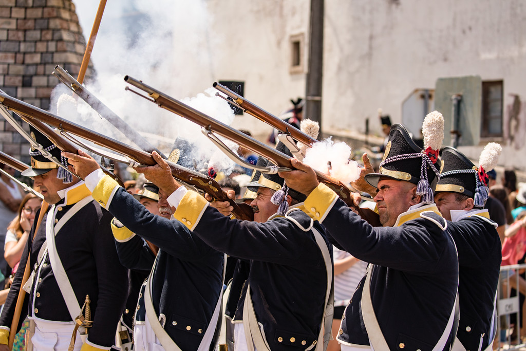 Musket fire at the Reenactment of Battle of Vimeiro, Portugal