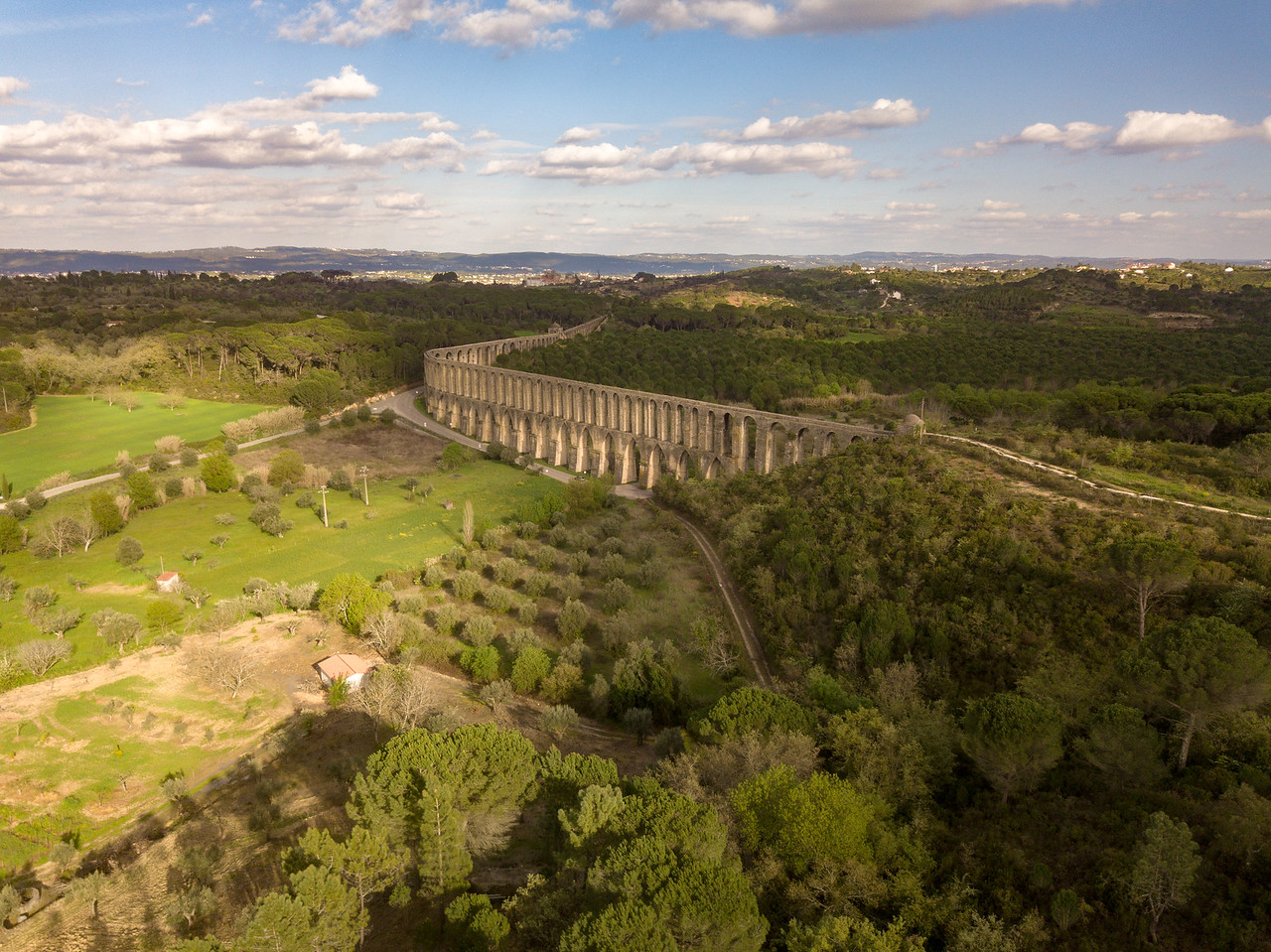 Drone Image of the Aqueduct near Tomar, Portugal
