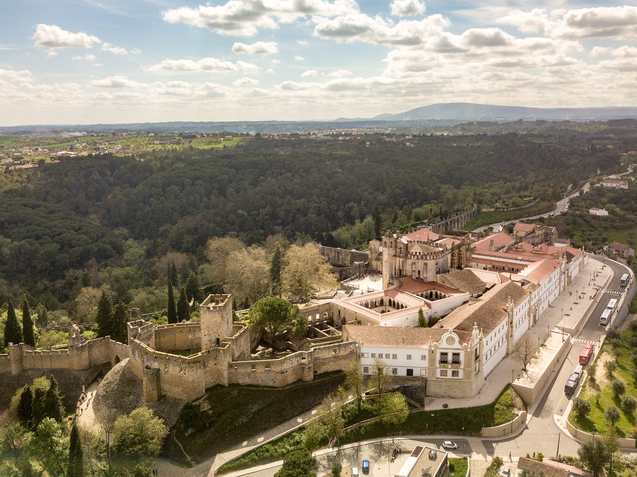 Drone Image of Convento de Cristo and Tomar Castle in Portugal