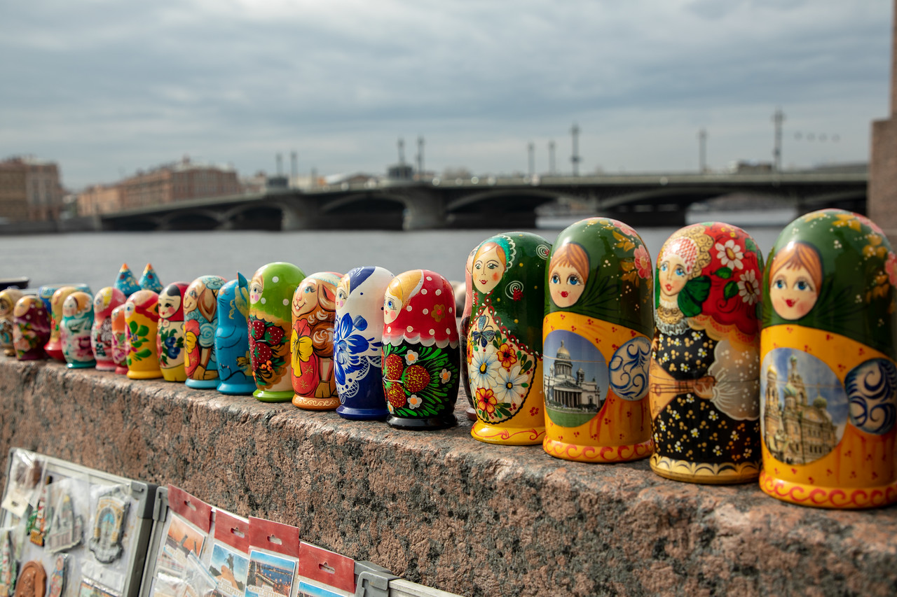 Russian Nesting Dolls, or Matryoshka Dolls Being Sold on the Neva River