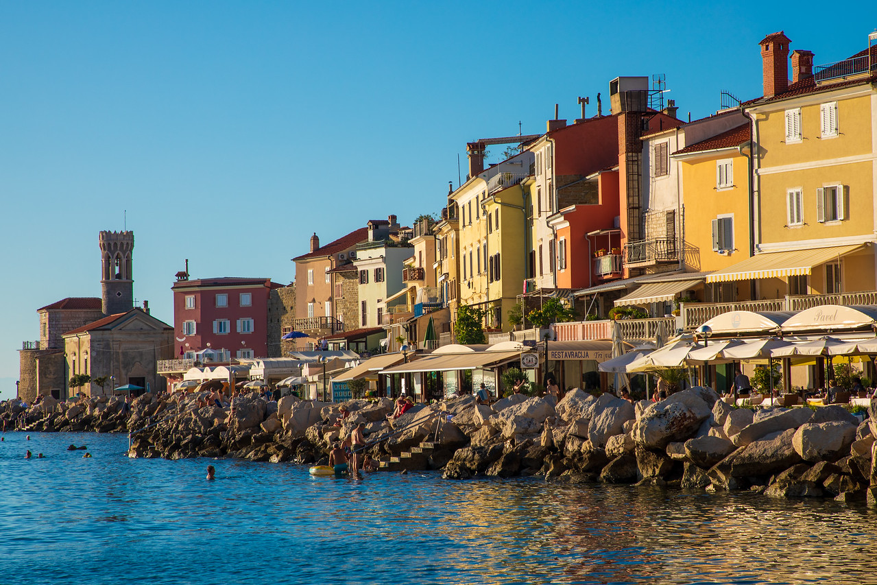 Houses On The Waterfront of Piran, Slovenia