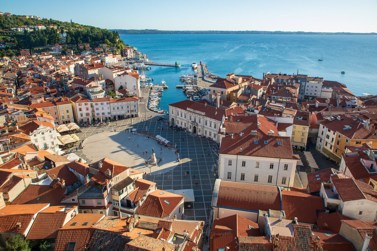 View of Piran, Slovenia Taken From The Bell Tower at St. George's Church