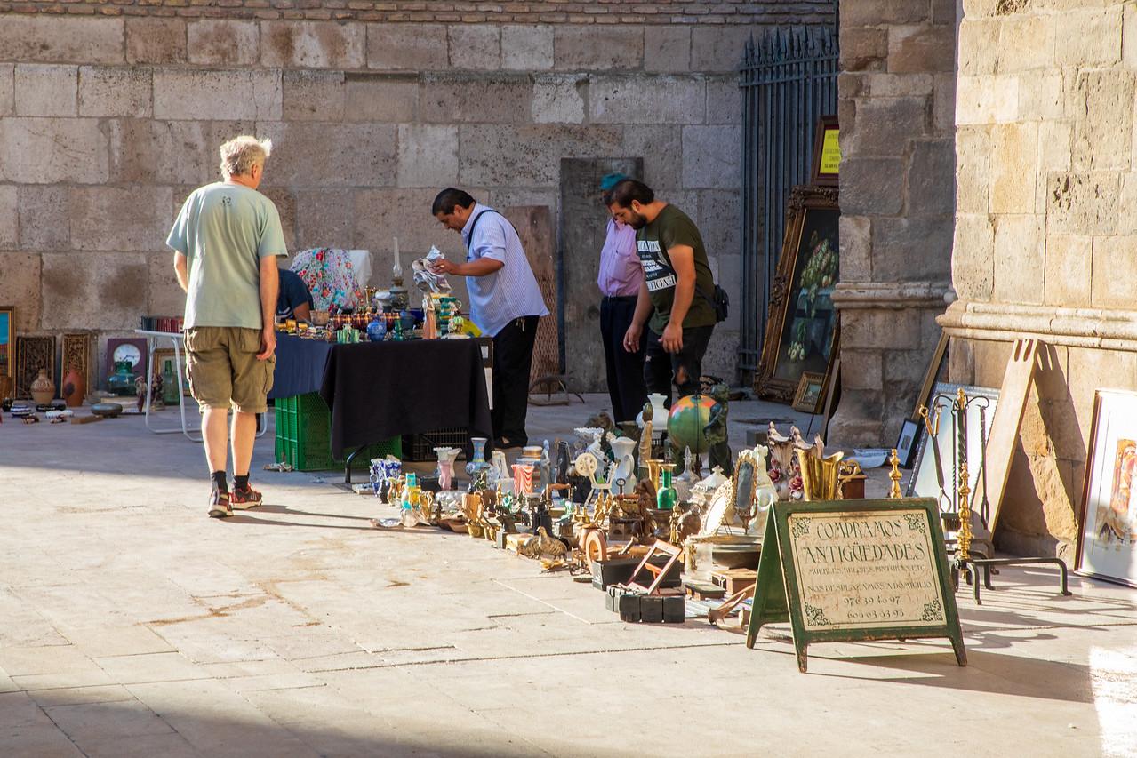 Antique Market on a Side Street in Zaragoza Spain
