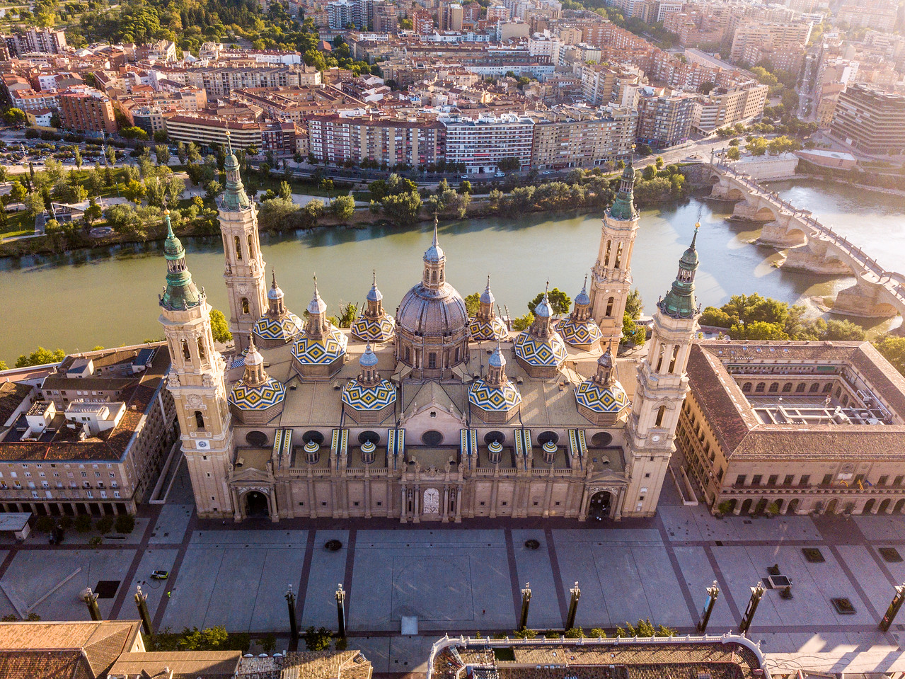 Drone Photo of Zaragoza Zaragoza's Basilica of Our Lady of the Pillar or Nuestra Señora del Pilar