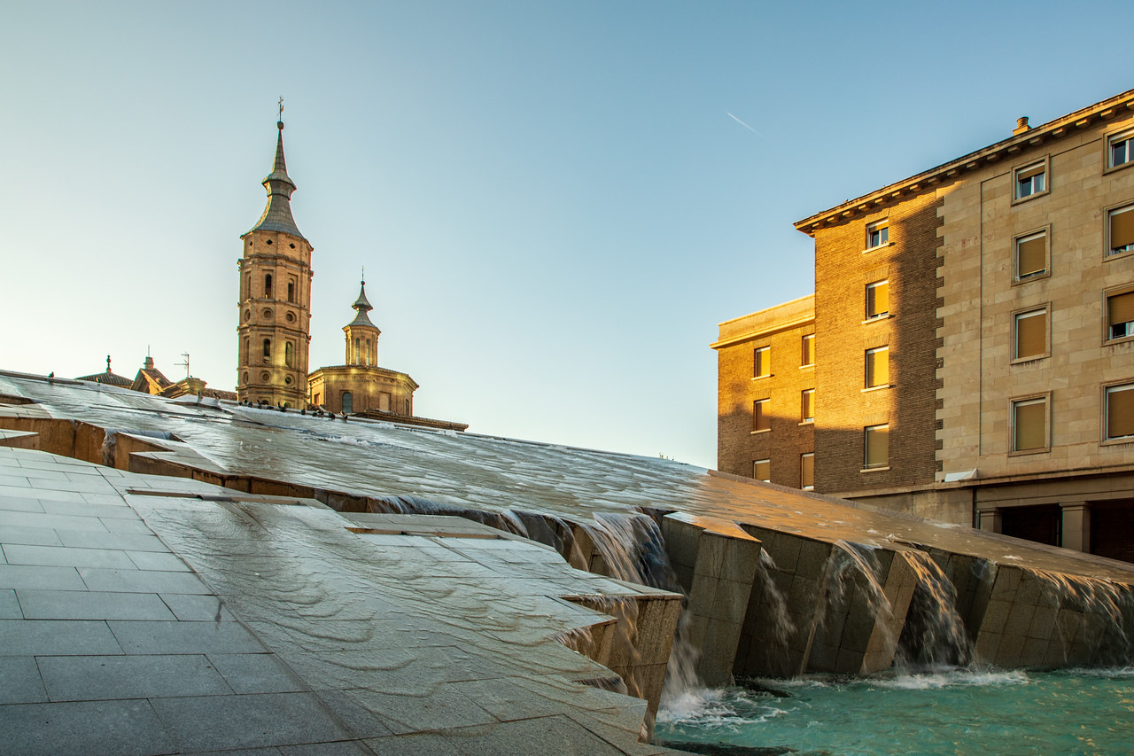Foto of Fountain in the Main Square of Zaragoza, Spain