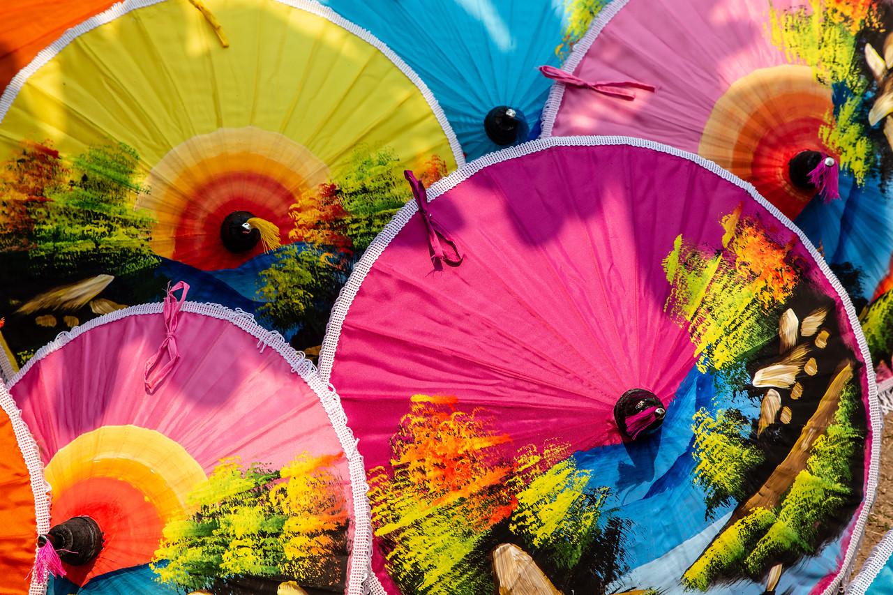 Beautiful Pattern on Umbrellas at Bo Sang Umbrella Village