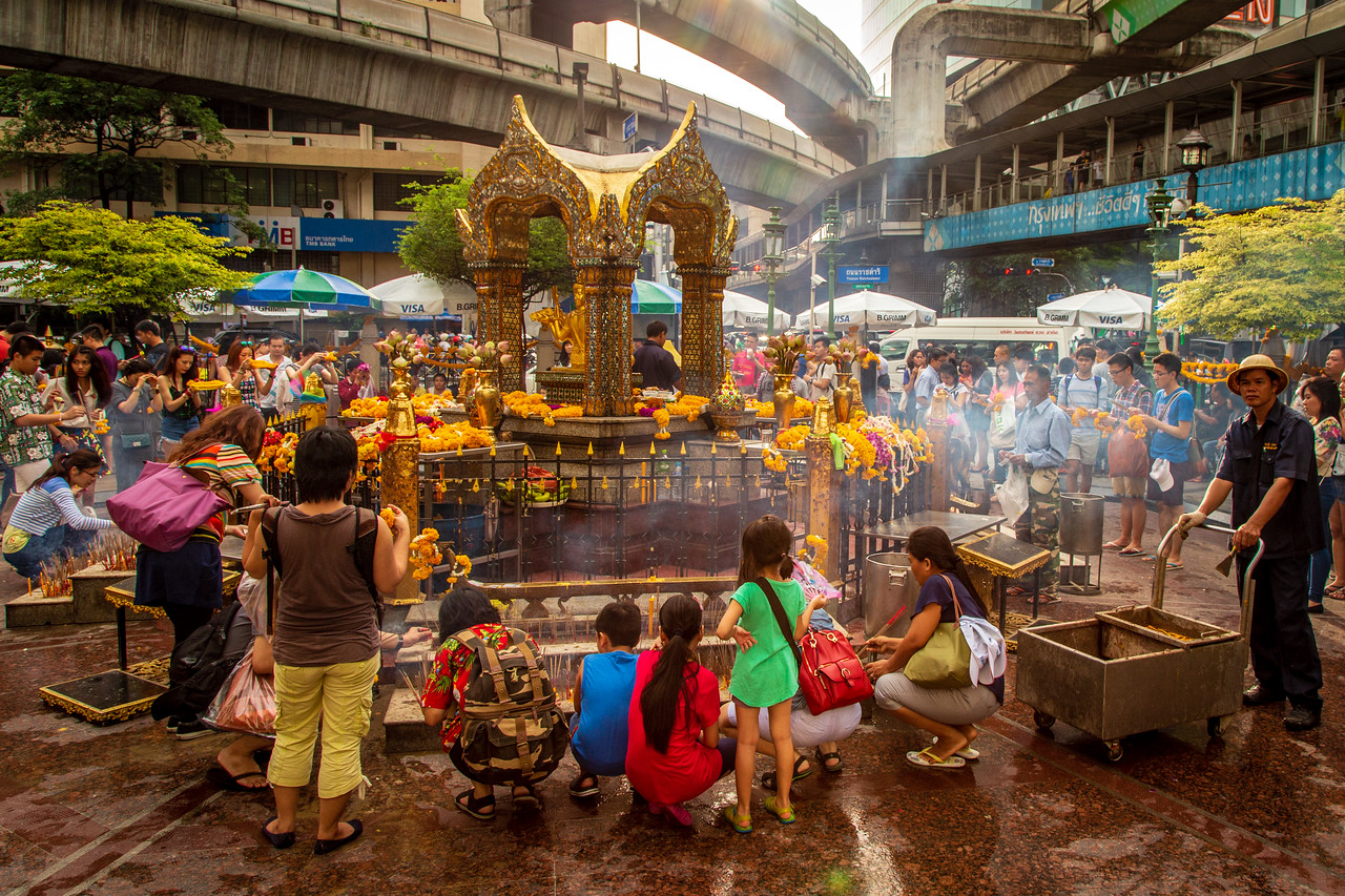 The Erawan Shrine in Bangkok, Thailand