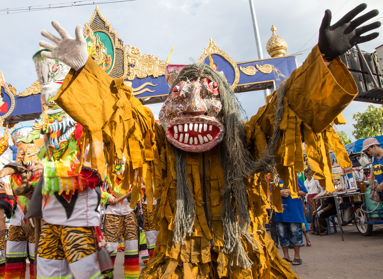 Masked Ghost at the Phi Ta Khon Festival in Thailand