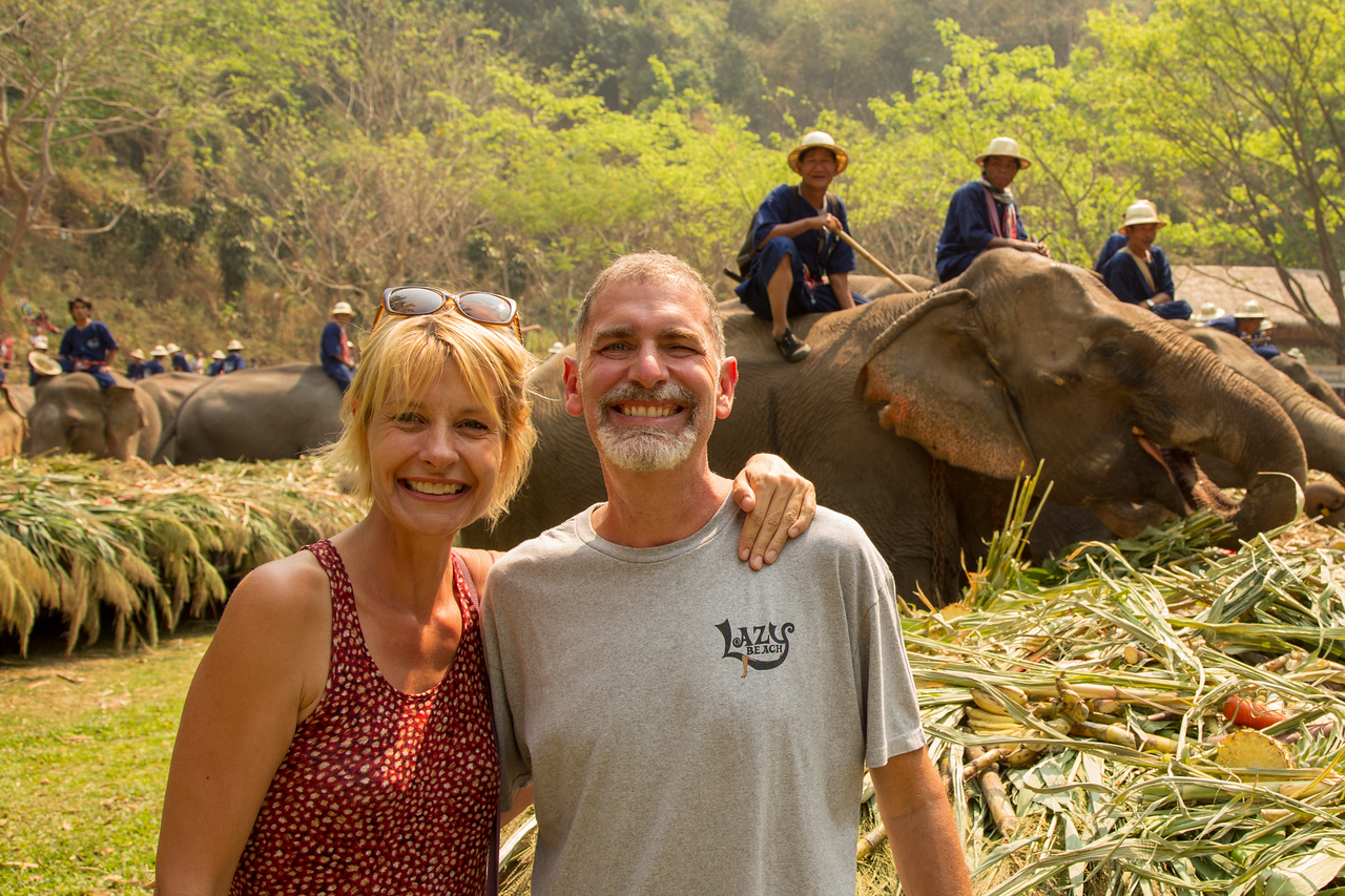 Jonathan and Sarah at National Elephant Day Celebration in Thailand
