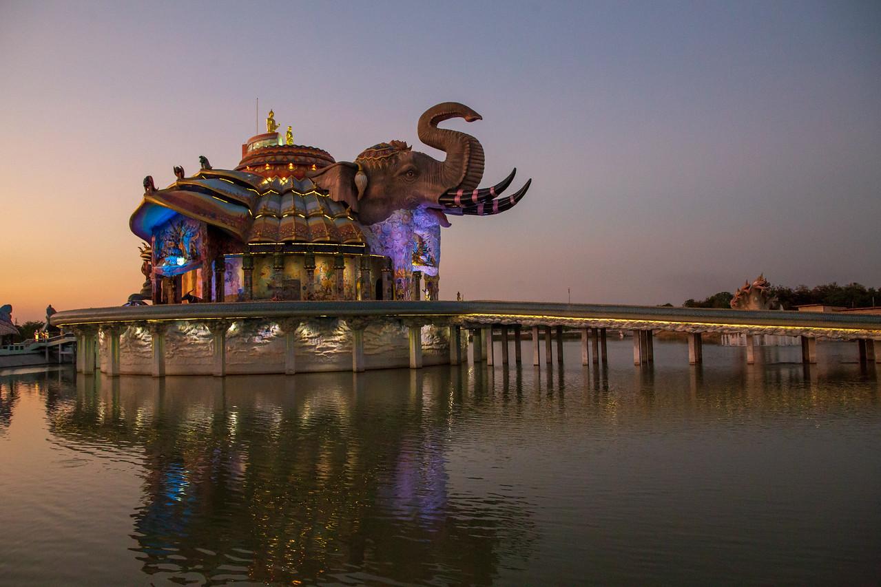 Elephant Temple Wat Ban Rai at Dusk