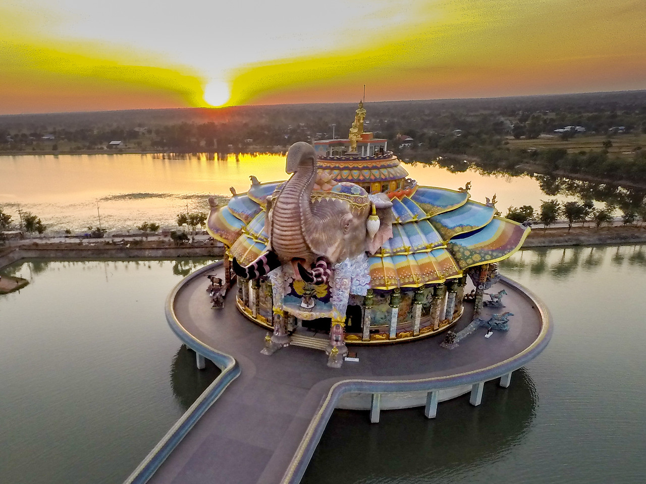 Aerial View of Wat Ban Rai Elephant Temple Thailand from Drone