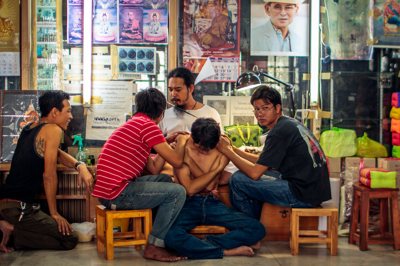 Getting a Sak Yant Tattoo at Wat Bang Phra Temple