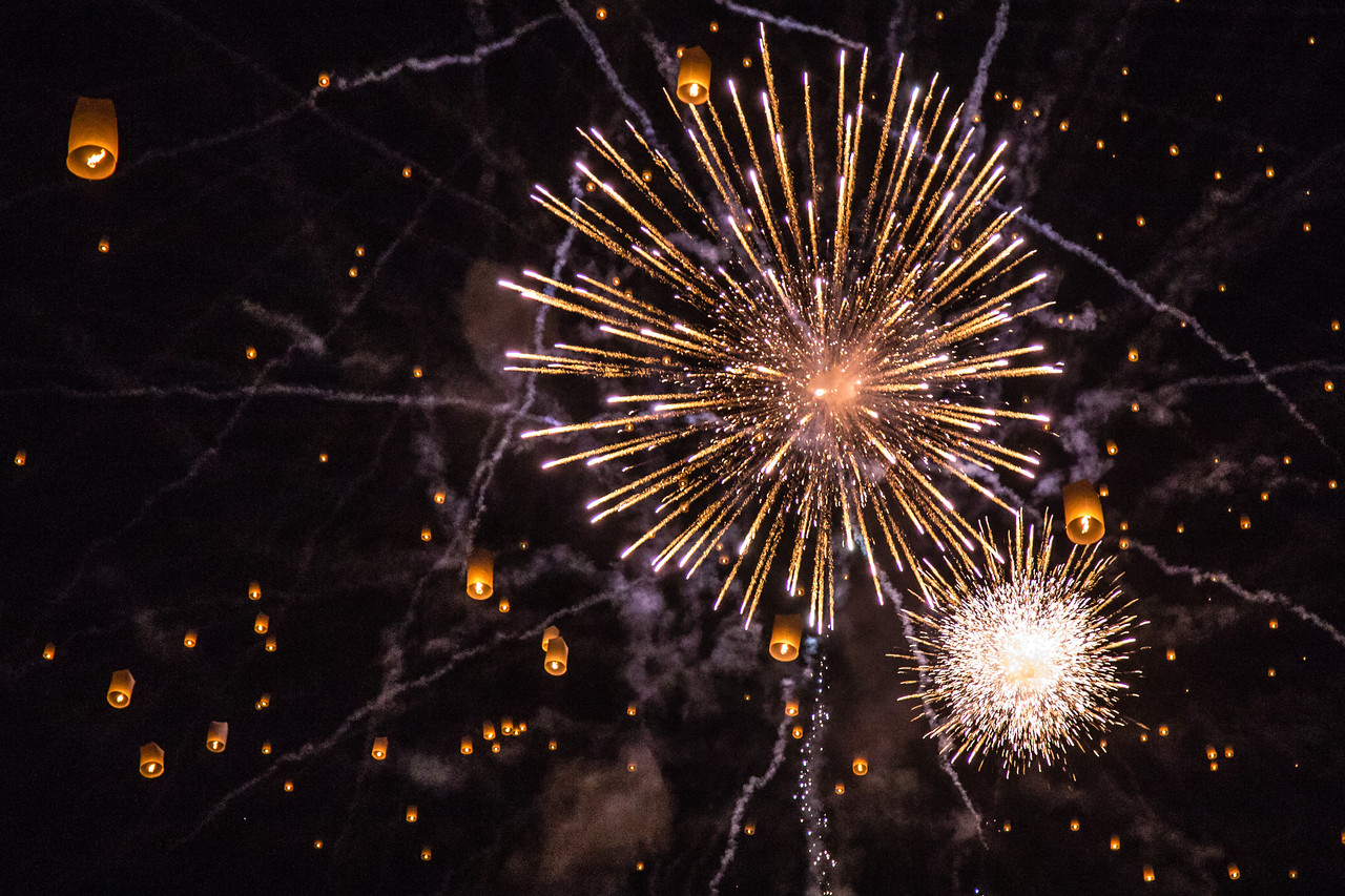 Fireworks and Paper Lanterns at Yee Peng 2014 - Chiang Mai, Thailand