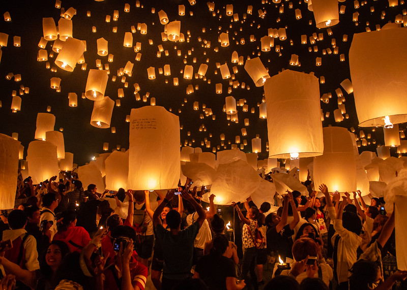 Images and Video of the Yee Peng Paper Lantern Festival in Chiang Mai, Thailand
