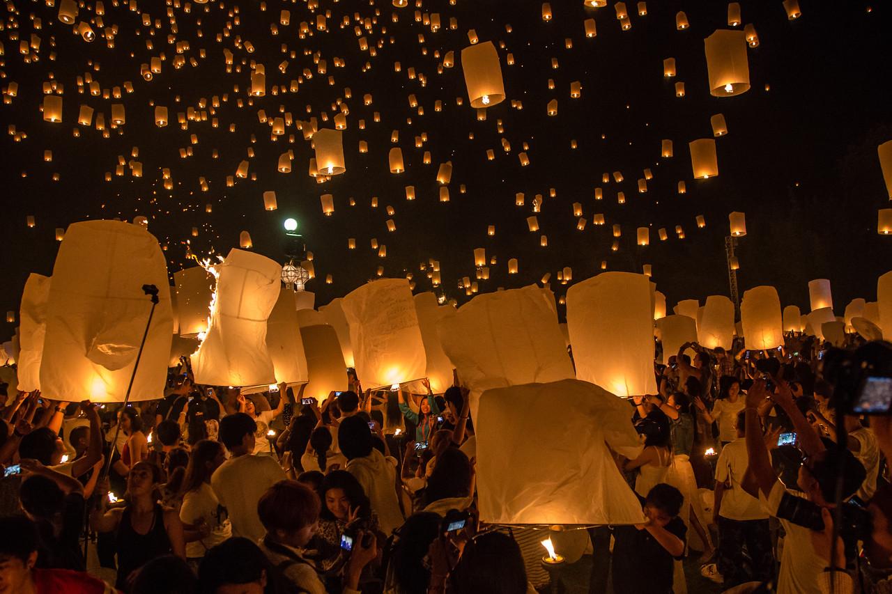 Paper Lanterns Yee Peng 2014 - Chiang Mai, Thailand