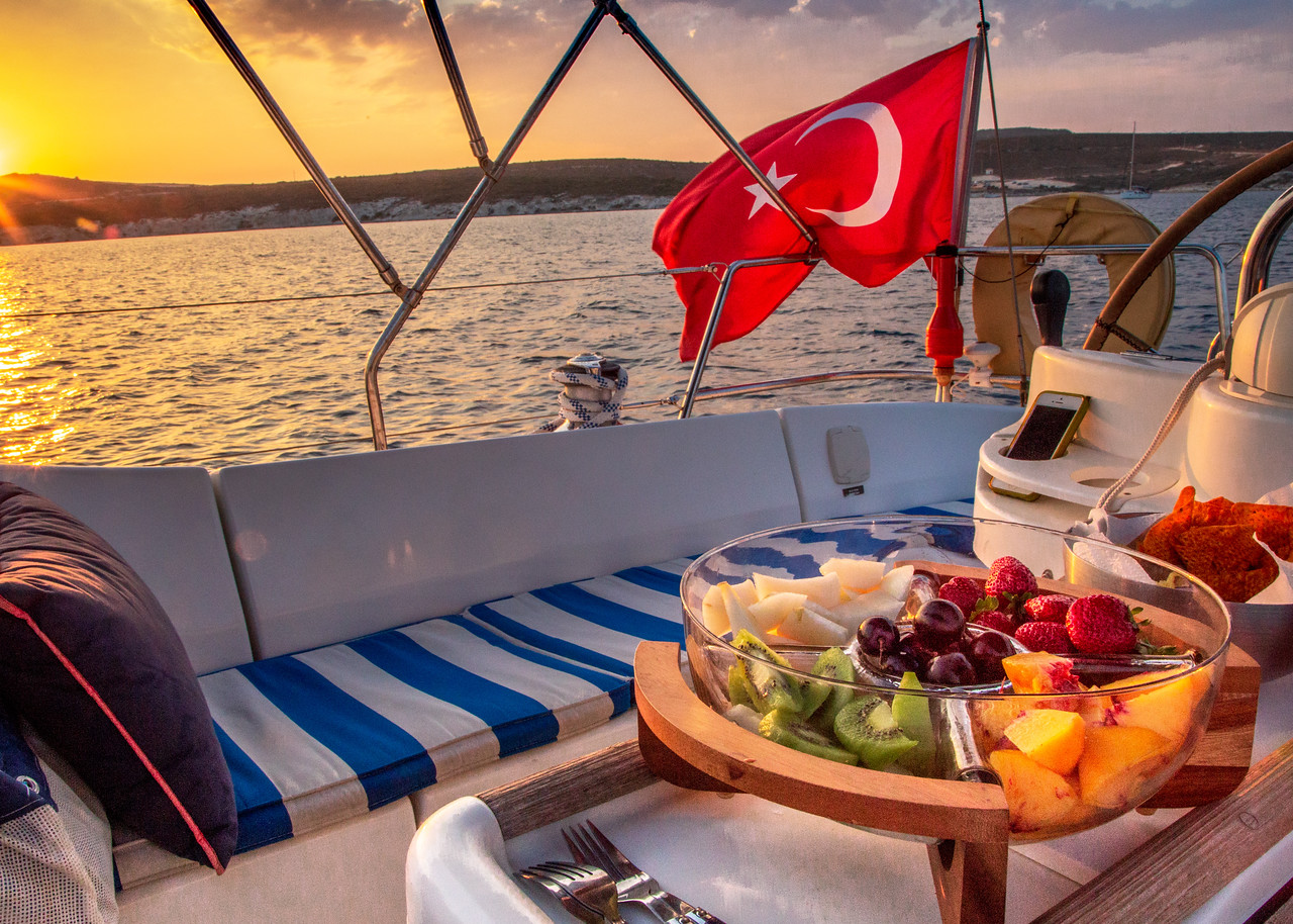 On the Water Sunset Feast in Cesme, Alacati, Turkey