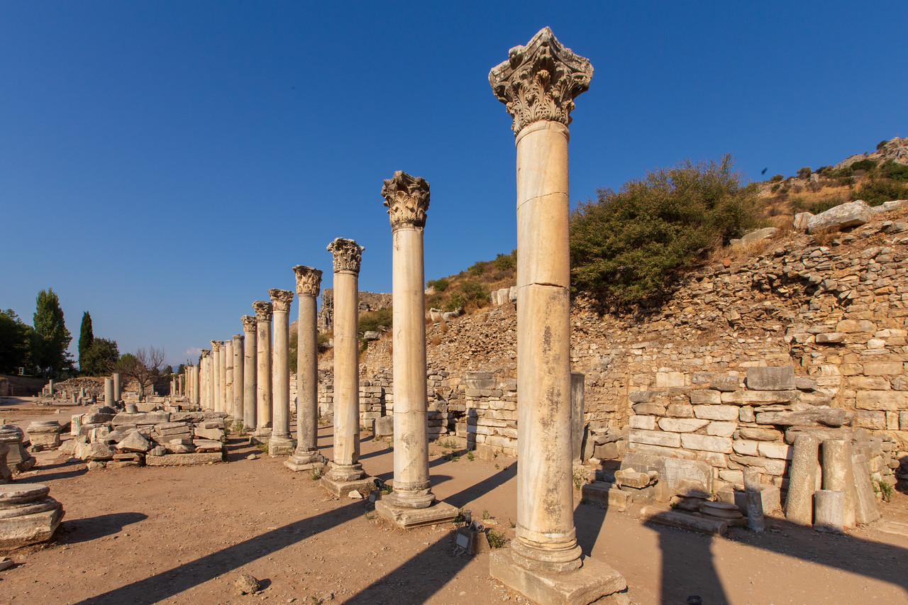 Columns Adjoining the Lower Agora in Ancient Ephesus Turkey